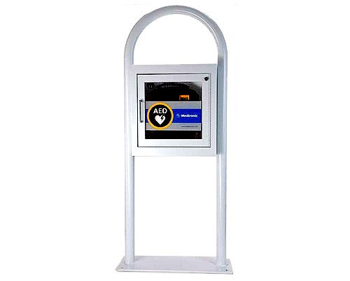 Physio-Control AED Floor Stand & Cabinet with Alarm (White)